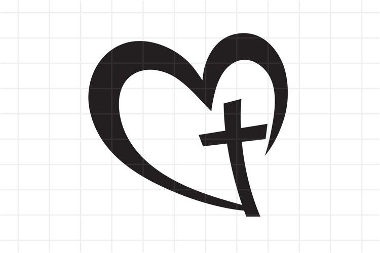 Cross heart SVG cut file. Christian vector, Faith Jesus. example image 1