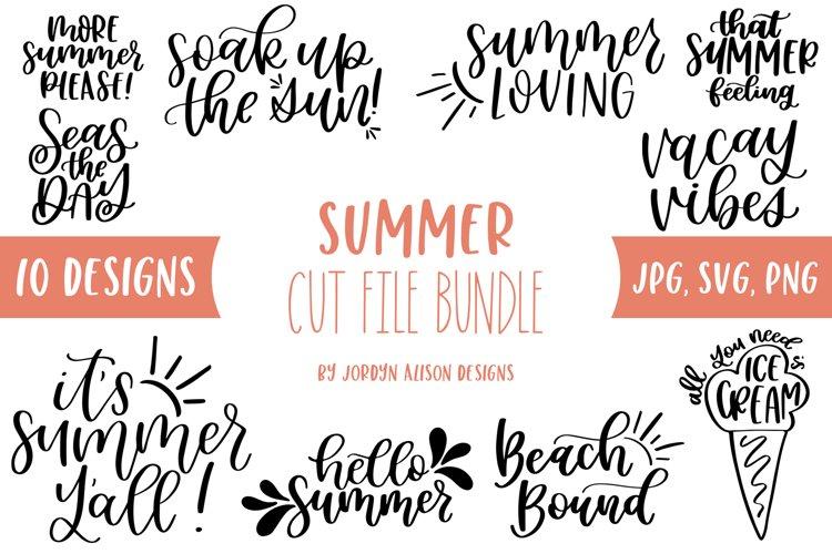 10 Summer SVG Bundle, Hand Lettered SVG Cut Files
