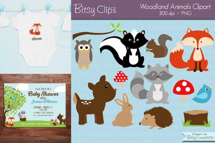 Woodland Animals Digital Art Set Clipart Commercial Use example image 1