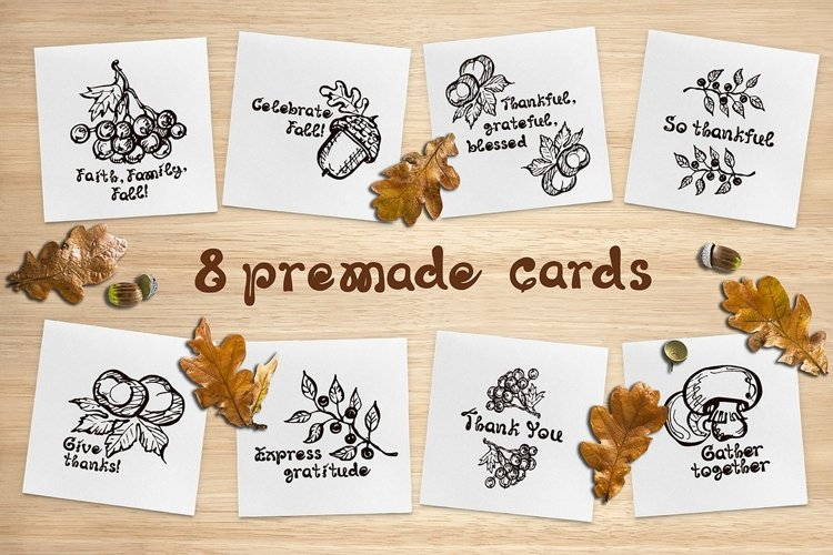 8 fall greeting cards| SVG EPS AI JPEG PNG PSD example image 1