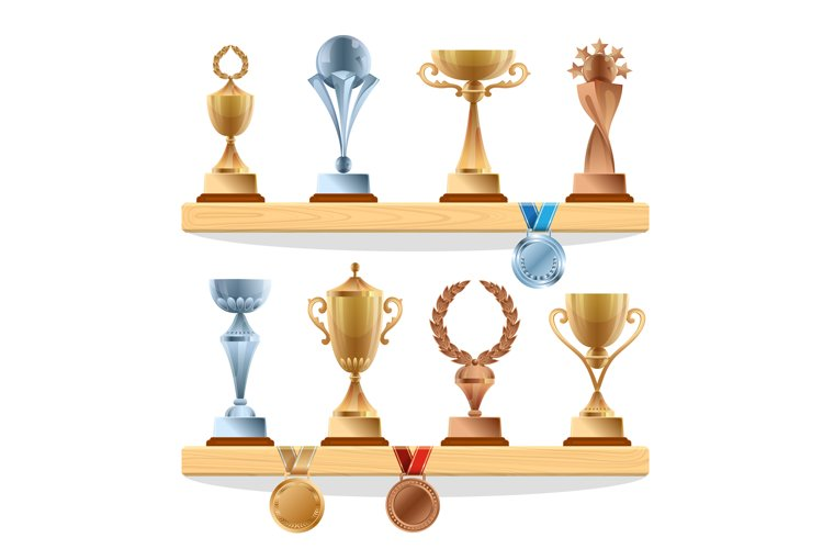 Trophy collections on the shelf. Golden, bronze and silver m example image 1