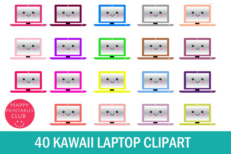 40 Kawaii Laptop Clipart- Cute Laptop Clipart