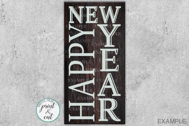 Wood sign digital Front door porch sign Happy New Year svg example image 1