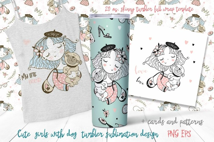 Girl with dog sublimation design. Skinny tumbler png example image 1
