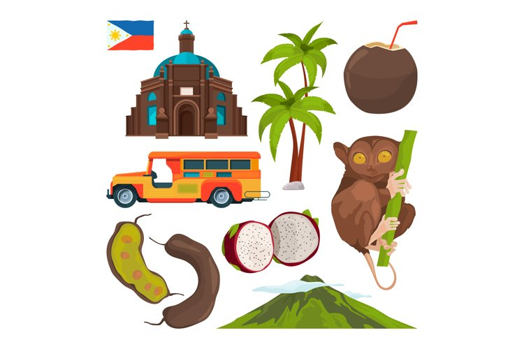 Vector set of colored symbols of philippines example image 1
