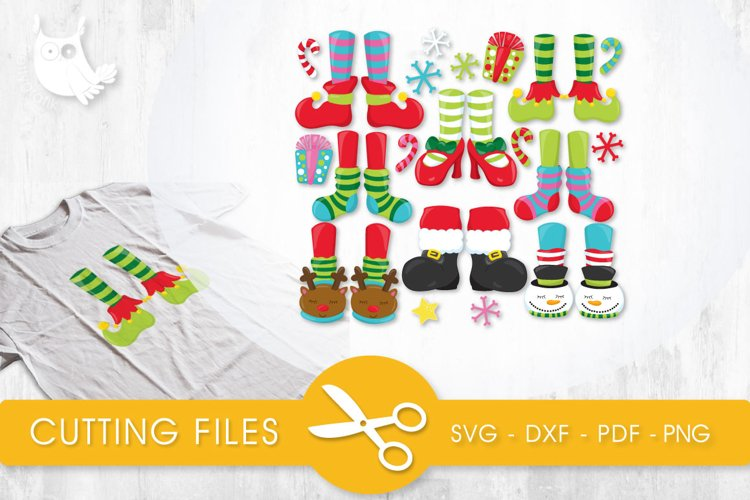 Christmas Feet cutting files svg, dxf, pdf, eps included - cut files for cricut and silhouette - Cutting Files SVG