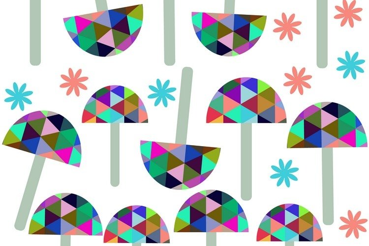 Umbrellas seamless vector pattern example image 1