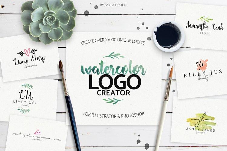 Premade Watercolor Logo Creator Kit Illustrator Photoshop example image 1