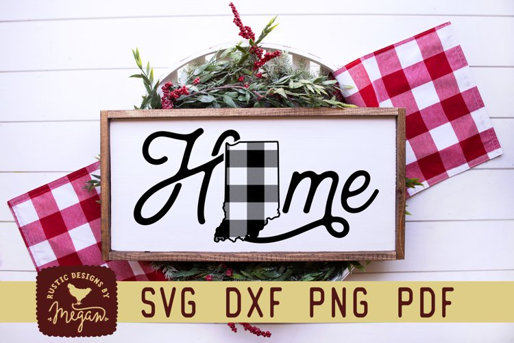 Indiana Buffalo Plaid State Home SVG DXF Cut File example image 1