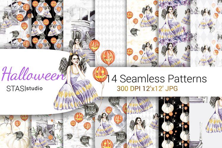 Halloween Digital Paper Witch Watercolor Pattern Cat Purple example image 1