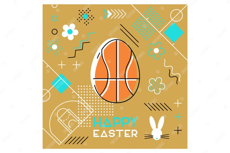Easter sports greeting card. Memphis design. Basketball. example image 1