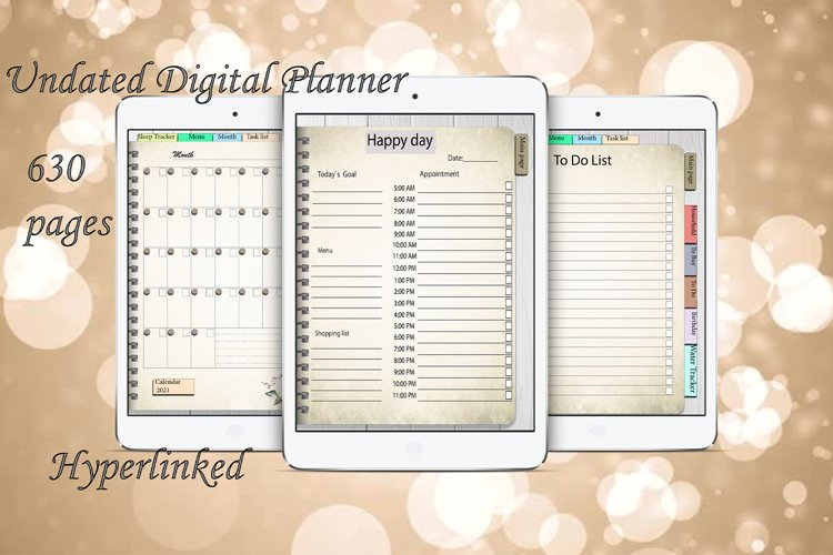 Daily Planner Goodnotes Undated, Hyperlinked,Xodo example image 1