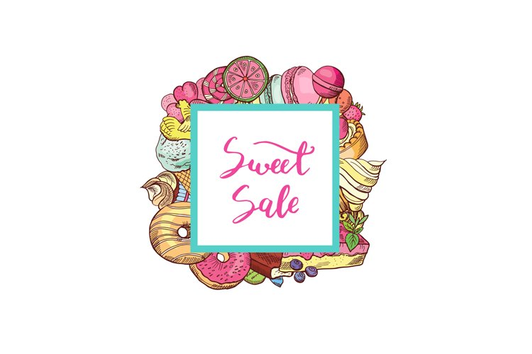 Vector hand drawn colored sweets example image 1