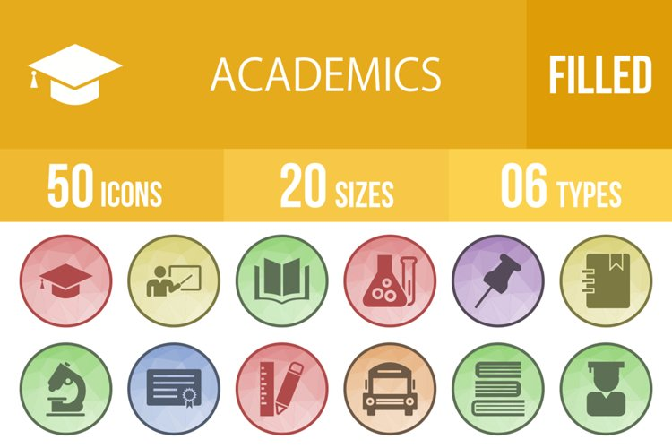 50 Academics Filled Low Poly Icons example image 1