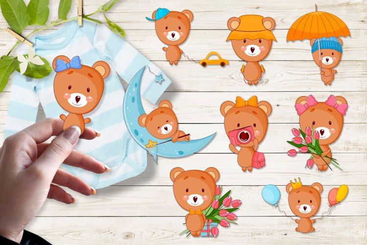Cute cartoon baby bear clipart bundle. Eps, Png. example image 1