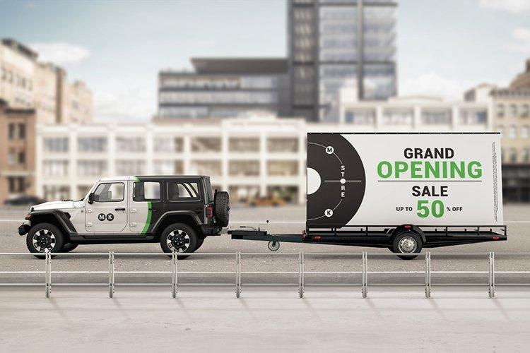 Mobile Billboard Trailer Advertising Sign Mockup example image 1