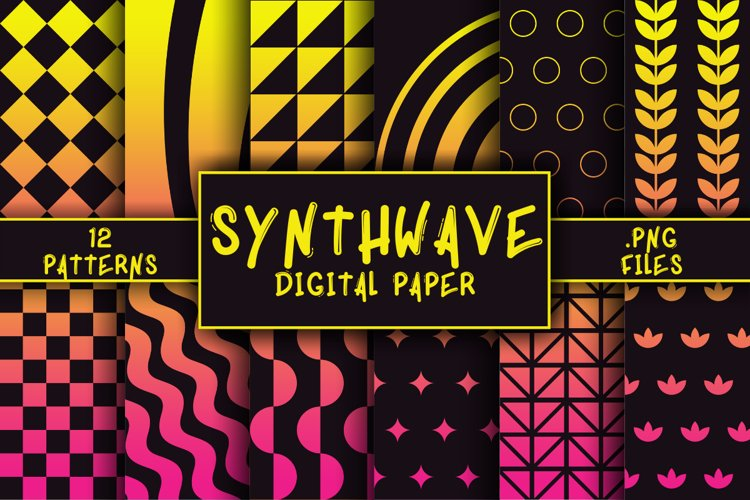 Synthwave Pattern Digital Paper example image 1
