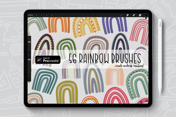 56 Brushes, Rainbow Procreate Brush/Stamp Bundle example image 1