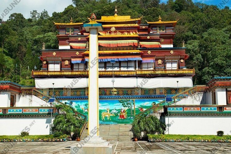 Traditional indian buddhistic monastery. In India, Sikkim