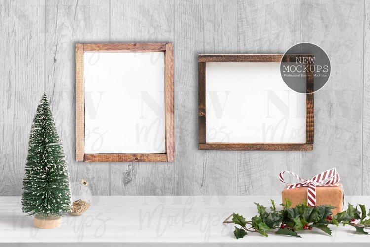 Wood Sign 8x10, Horizontal 8x10 Christmas Styled Mockup example image 1