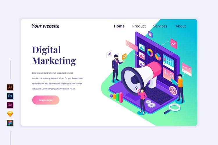 Isometric Digital marketing Landing page illustration