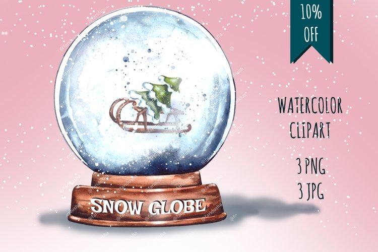 Christmas,Snow Globe,Christmas tree,Sublimation,Watercolor example image 1