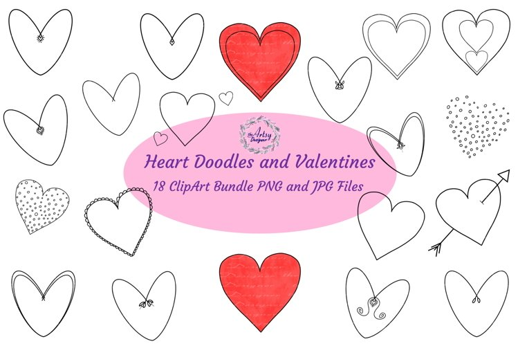 Valentine Heart Doodle Drawn ClipArt Valentines Day Love PNG