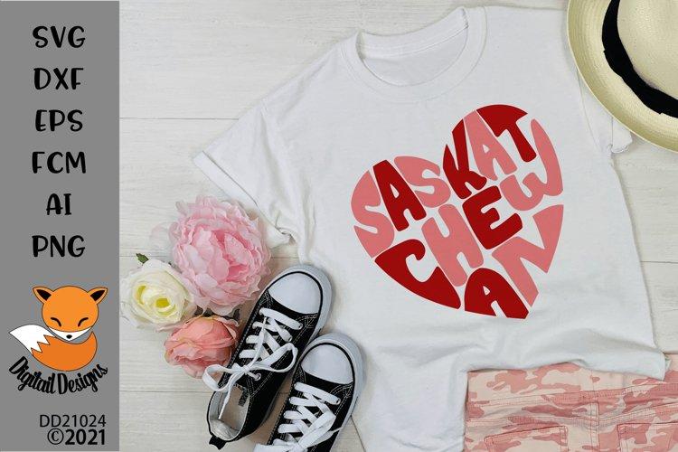 Canadian Province Saskatchewan Heart Shaped Word Art SVG example image 1