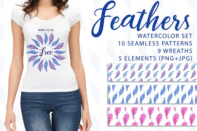 Feathers. Watercolor set. PNG, JPG