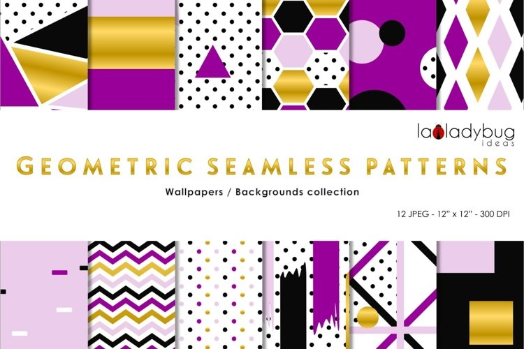 Golden, black, purple and lilac geometric seamless patterns example image 1