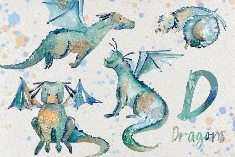 Dragons - Watercolor Clip Art Set