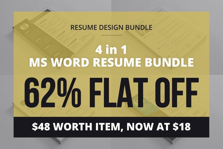 4 in 1 MS Word Resume bundle