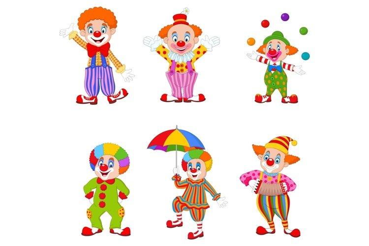Set of Fourteen Cartoon Clowns Character