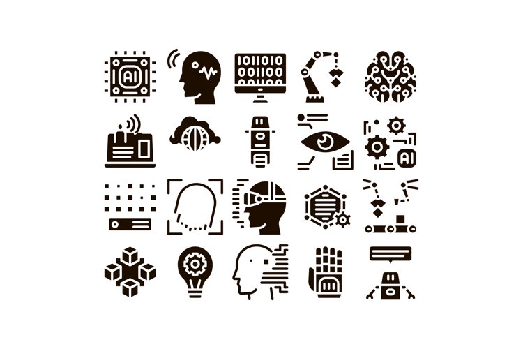 Artificial Intelligence Vector Thin Icons Set example image 1