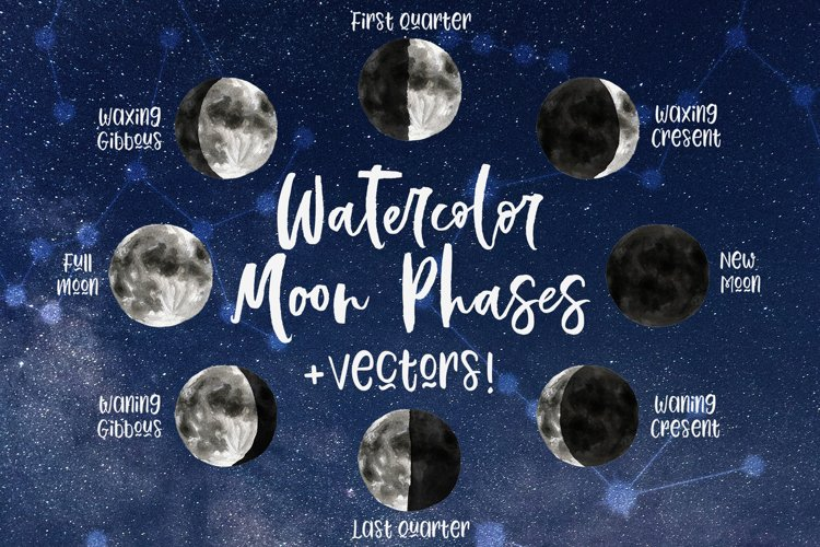 Watercolor & Vector Moon Phases Clip Art example image 1