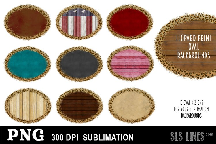Oval Shape Sublimation Backgrounds with Leopard Print