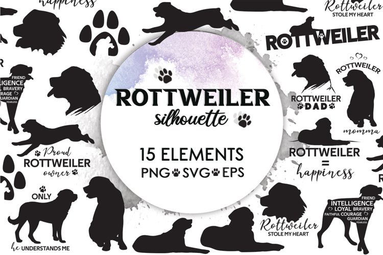 Rottweiler Svg, Dog Clipart, Dog Svg, Dog Silhouette, Quotes example image 1