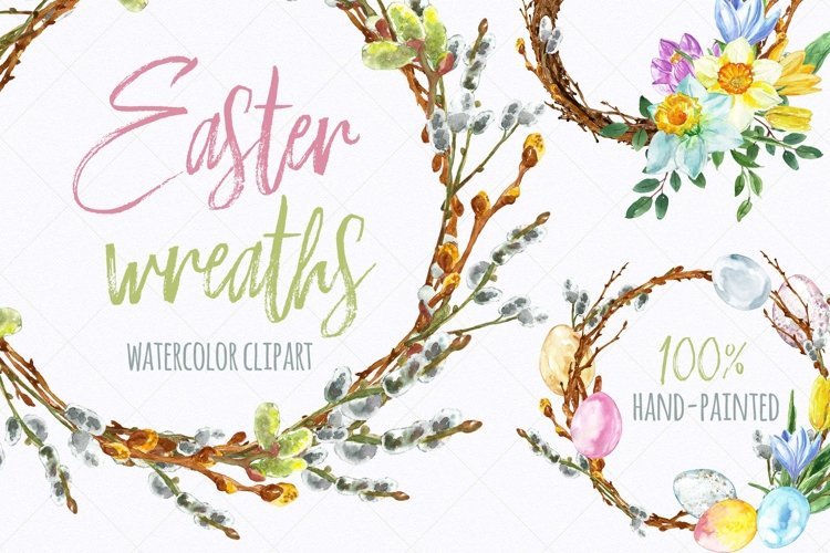 Watercolor Easter Spring Floral Wreath Eggs Clipart