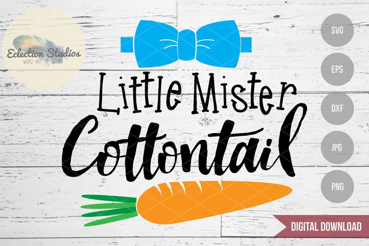 Easter SVG, Little Mister Cottontail with carrot and bowtie example image 1