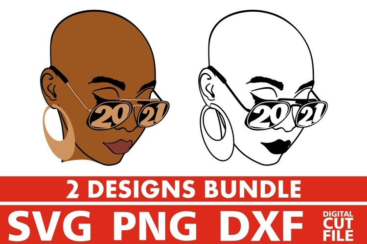 2x Bald Woman in Glasses Bundle svg, Afro svg, Year 2021 svg example image 1