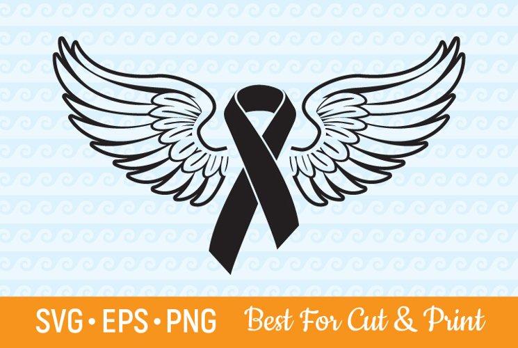 Awareness SVG Ribbon SVG Awareness Ribbon Wings Cancer SVG example image 1