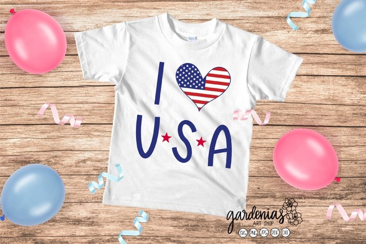 I Love USA SVG   America Heart Flag Cut File   4th of July example image 1
