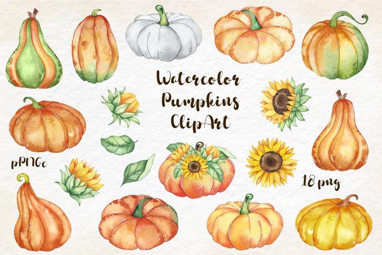 Watercolor Pumpkin clipart, Pumpkin PNG, autumn clipart example image 1