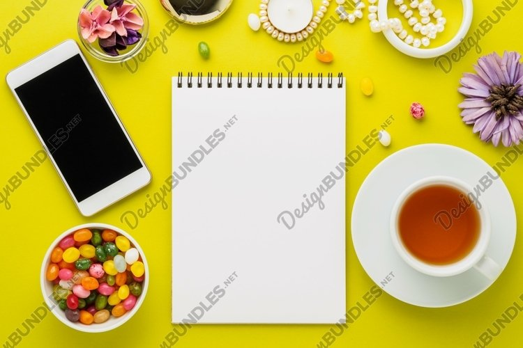 Bright yellow background, top view, flat lay, empty place