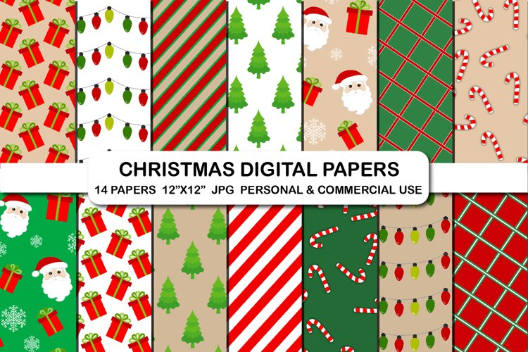 Christmas pattern digital paper set, Candy cane, Santa claus example image 1