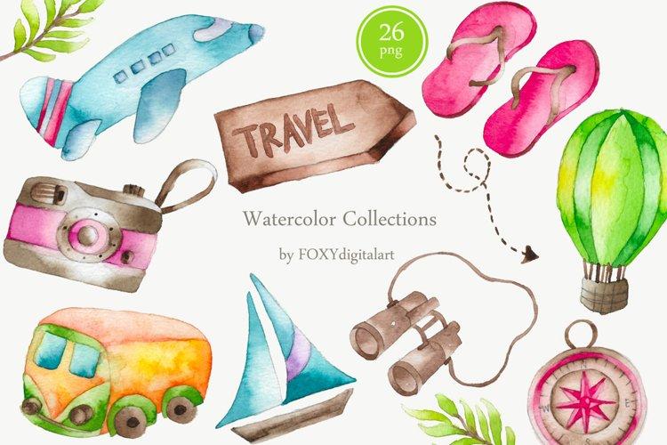 Watercolor Travel Vacation Wanderlust Adventure Roadtrip example image 1