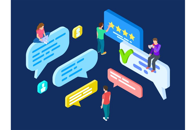 Isometric review vector. Feedback concept with people and sp example image 1