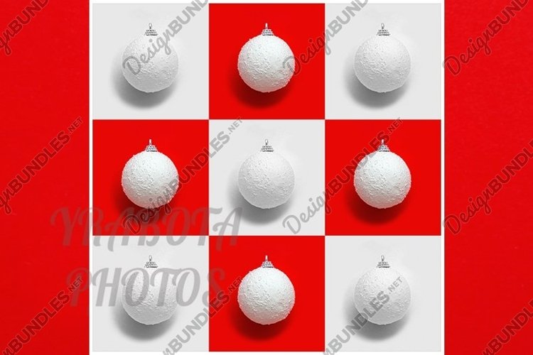 White Christmas balls, New Year greering card. example image 1