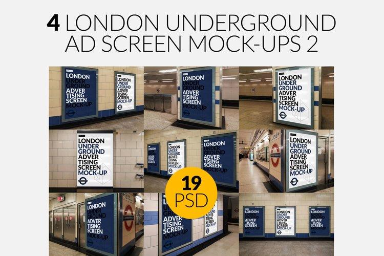 4 London Underground Screen Mock-Ups Bundle 2 / 19 PSD example image 1