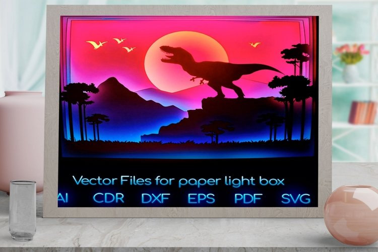 dinosaur Light box PNG SVG DXF CDR template Papercut example image 1